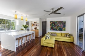 Custom joinery complements the beautiful Spotted Gum timber floors